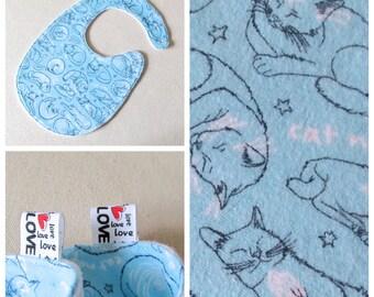 Cat Nap BABY  Bib , Gender Neutral Bib, Blue Baby Shower Gift, Trendy Bib, Cat Bib, Absorbent Bib, baby shower gift, baby boy girl bib