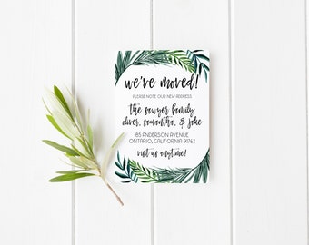 moving announcement printable · palm leaf moving announcement · we've moved · new addres card · tropical announcement · printable stationery