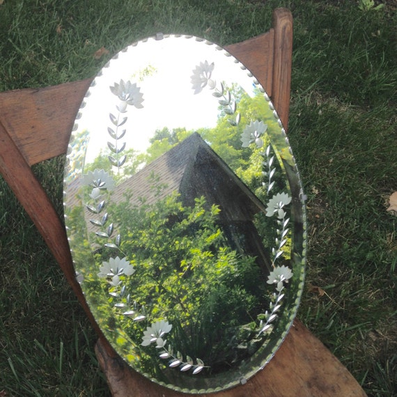 Antique Etched Oval Wall Mirror With Wood Backing Scalloped