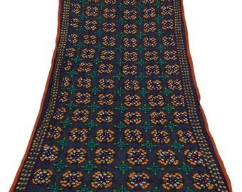 Vintage Dupatta Phulkari Embroidered Wrap Indian Long Stole Floral Art Craft Fabric Antique Deco Blue Clothing Hijab DPP74