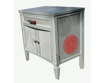 SOLD! Red and Silver Cabinet, Refinished Handpainted Stenciled End Table Nightstand