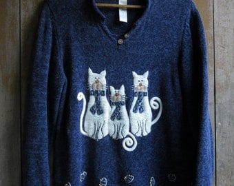 Vintage Pullover Cat Sweater, Dark Blue, Funny Cat Sweater, Novelty, Slouch, Size L, Women's Cat Sweater, Cat Lovers Gift, Cat Clothing,Cats
