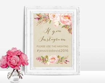 Printable Instagram Sign, Wedding Hashtag Sign, Wedding Instagram Sign, Floral Instagram Hashtag Sign, Rustic Instagram Sign, Digital File