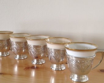 Sterling Silver Demitasse / Espresso Cup Holders.  Set of Six.