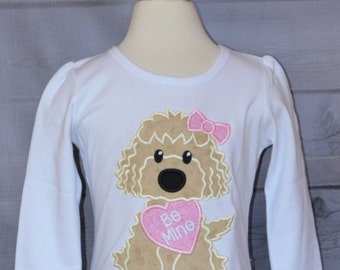 Personalized Valentine's Day Golden Doodle Dog with Heart Applique Shirt or Onesie Girl or Boy
