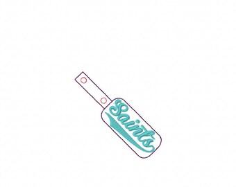 Saints- Team - In The Hoop - Snap/Rivet Key Fob - DIGITAL EMBROIDERY DESIGN
