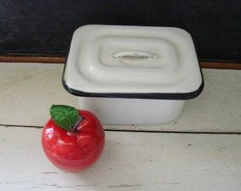 Enamelware Refrigerator Dish Box Vintage Enamel Medical Pan with Lid