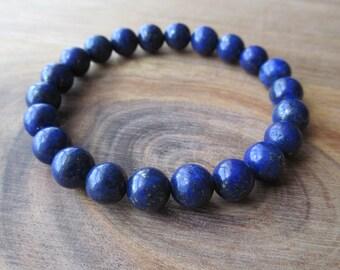 Lapis Lazuli Bracelet, Stacking Bracelet, Men's Bracelet, Mala Bracelet, Layering Bracelet, Beaded Bracelet, Lapis Bracelet, Yoga Bracelet