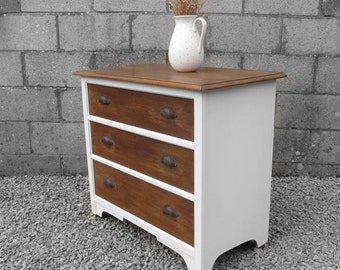 Vintage Shabby Chic Painted Chest of Drawers - Soft White