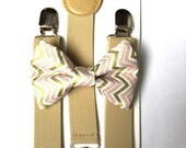 Tan suspenders + Matching pink and metallic Gold Chevron Bow Tie SET kids children toddler baby boys boy fits ages 6 months - 13 years old