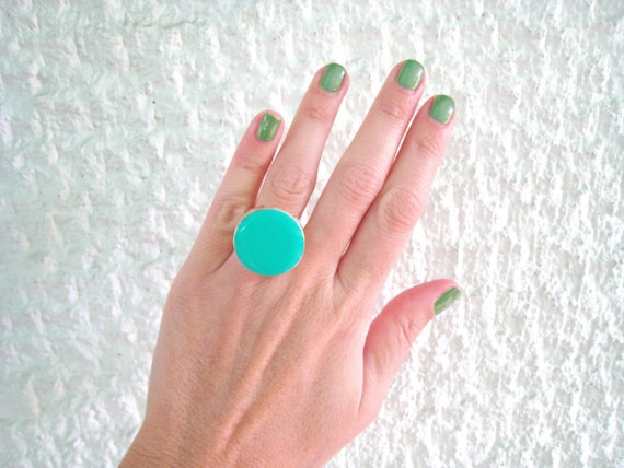 Mint green ring, light green resin ring, round ring, modern minimalist green solitaire ring, big chunky ring, color block jewelry