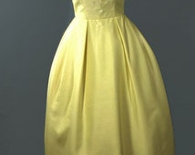 Vintage 1960 Prom Dress. Yellow Tulip Satin Long Prom Dress with Seed Bead Neckline Size S