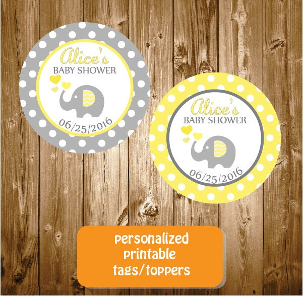 personalized elephant baby shower stickers tags printable