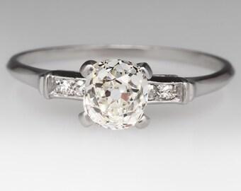 1920's Antique 1.1 Carat Old Mine Cut Diamond Platinum Engagement Ring MAS10380