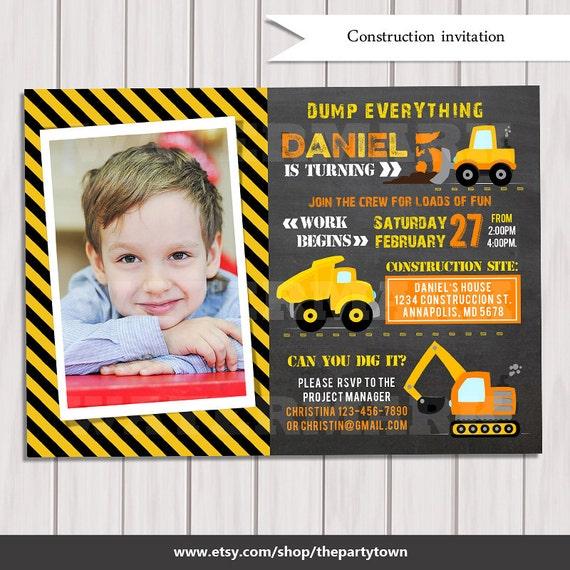CONSTRUCTION INVITATION, Construction Photo Chalkboard