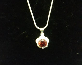 Red Cubic Zirconia Flower Pendant Necklace w/ Sterling Silver Plated Chain