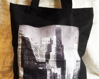 Fabric Tote Shopping Bag - New York Scene Pocket