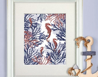 Nautical Print - Pink & Blue Seahorses in Coral - Pink art print seahorse print seahorse art print coral wall art Nautical Nursery Decor