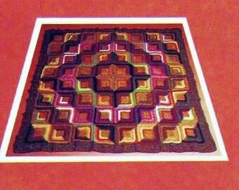 Log Cabin Afghan Vintage Crochet Pattern Download