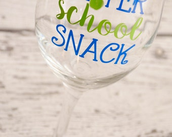 Teacher After School Snack Wine Glass - 20oz Personalized