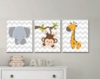 Elephant, Giraffe and Monkey Nursery Wall Art Prints, Nursery Prints, Baby Boy Nursery Wall Art Print Bedroom Decor - H174