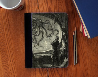 20,000 Leagues Under the Sea Illustration Faux Suede Notebook in 3 Sizes!