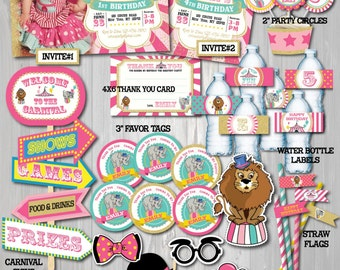 Pink Gold Circus Party Package-Printable Circus Birthday Package-Carnival Birthday Party-Carnival Party Decoration-Girl Carnival Party