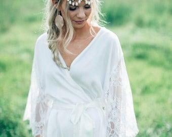 Pure Silk & White Lace Sleeve Bridal Robe | Preciosa Off White Wedding Robe | Silk Kimono Robe | Made in Australia