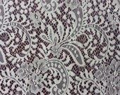 Off White lace fabric French Lace, Chantilly Lace, Bridal lace Wedding Lace White Lace Veil lace Scalloped Floral lace Lingerie by the yard
