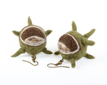 Autumn earrings with chestnuts - felted chestnut earrings - buckeye jewelry - spiky earrings for fall - woodland earrings with spikes [E15]