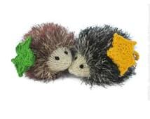 Cute woodland animal, stuffed hedgehog, cute plush toy hedgehog, kawaii plush hedgehog, amigurumi hedgehog ornament with mapple leaf
