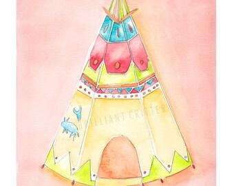 Teepee Watercolor Print - Teepee Children's Illustration - Nursery Teepee Art - Indian Teepee Artwork - Cowboys and Indians Nursery