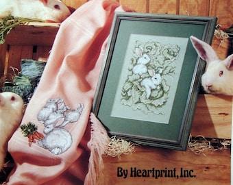 Les Lapins By Heartprint, Inc. Vintage Cross Stitch Pattern Leaflet 1990