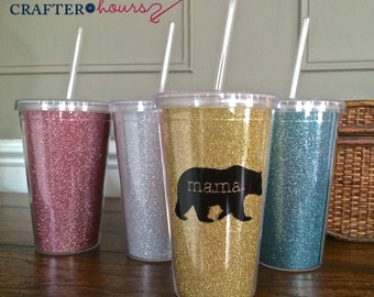 SALE!! 30% OFF ** Mama Bear Glitter Drink Tumbler - double wall, BPA Free - A perfect sparkly gift for new mamas, old mamas and mamas-to-be!
