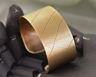Bronze Cuff Bracelet -Eucalyptus Leaf  - Cuff Bracelet-
