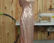 Rose Gold Evening dress , Cap Sleeve Luxury Sequin Bridesmaid dress ,Scoop neck Metallic Sparkle Wedding dress, Cowl Back Full(G2016008)