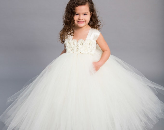 Featured listing image: Flower girl dress - Tulle flower girl dress - Ivory Dress - Tulle dress-Infant/Toddler - Pageant dress - Princess dress - Ivory flower dress