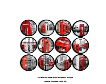 Iconic Red London Phone Booth Print Knobs - Urban, Pop Culture, England, Mod, Metro, Art, Black Gray - Dresser Drawer Pull, Cabinet - 815N32
