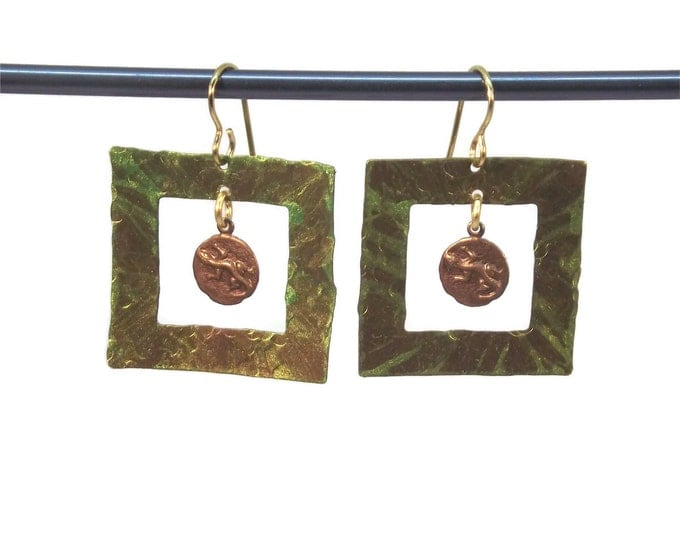 Hand Painted Square Green Lizard Brass Dangle Drop Earrings Nickle Free OOAK