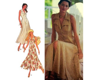 Women's Dress Pattern, Sleeveless, Ankle Length, Button Front, Flared Misses Size 6-8-10-12-14-16 Uncut Style 2440