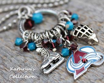 Colorado Avalanche Necklace, Avalanche Jewelry, Avalanche Fan Wear, Colorado Hockey