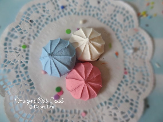 FAUX Cookie Meringue Light Blue Pink White Set Fake Food Prop Photo Pastel Kitchen Decor Display