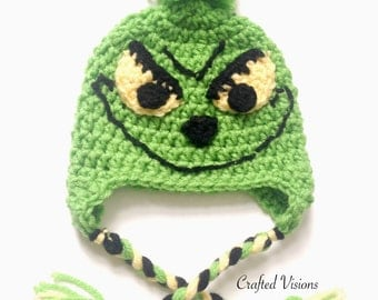 PATTERN Crochet Grinch hat, All Sizes, Newborn to Adult,