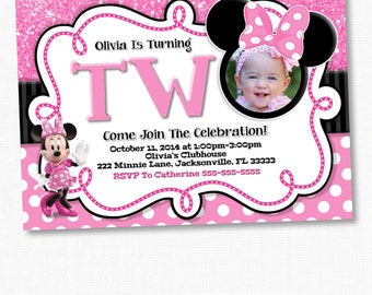 Chalkboard Minnie Mouse Invitation, Minnie Mouse Birthday Invitation, Chalkboard Birthday Invitation, Turning TWO, pink, purple, red, gold