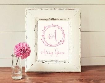 Girls Name Monogram Printable Art, Nursery Art, Baby Girl Name with Laurel Wreath, Wall Art, Printable