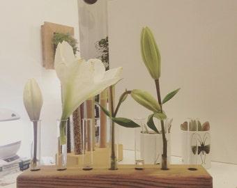 WOODEN VASE with GLASS tubes. Eco design vase.