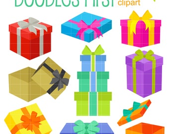 Gift Boxes Digital Clip Art for Scrapbooking Card Making Cupcake Toppers Paper Crafts