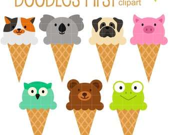 Animal Ice Cream Cones DIgital Clip Art for Scrapbooking Card Making Cupcake Toppers Paper Crafts