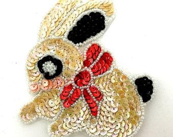 """Sale! Bunny Applique, Sequin Beaded, 4"""" x 4"""" - JJ735S-B121-0070-1699"""