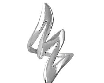 Silver Index Finger Ring/Middle Finger Ring/Polished Silver Ring/Lightning Bolt Ring/Long Ring/Statement Ring/Bold Ring/Statement Ring